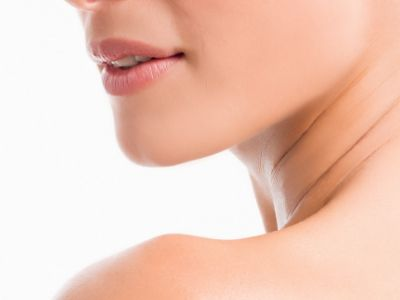 Woman with perfect chin and jawline